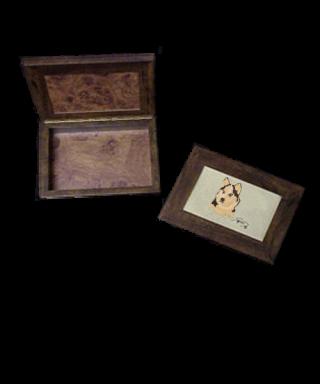 Caja de madera con bordado Husky