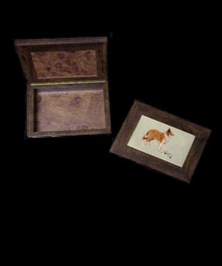 Caja de madera con bordado Pastor Escocés
