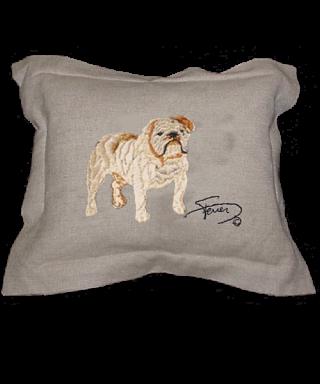 Cojín con pestaña y motivo bordado en lana Bulldog Inglés