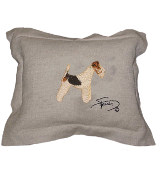 Cojín con pestaña y motivo bordado en lana Fox Terrier blanco