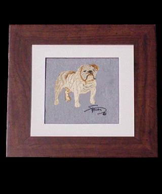 Cuadro con marco madera colores motivo bordado Bulldog