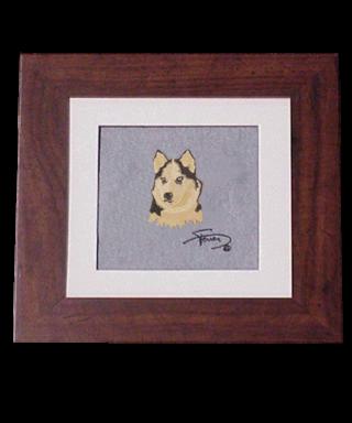 Cuadro con marco madera colores motivo bordado Husky