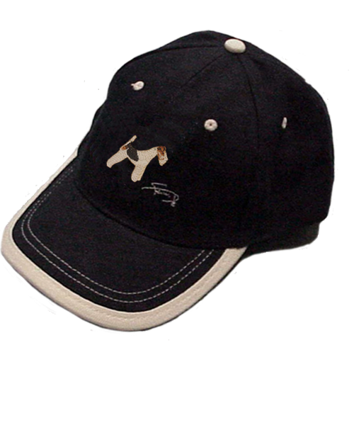Gorra cerrada con motivo bordado Fox Terrier blanco