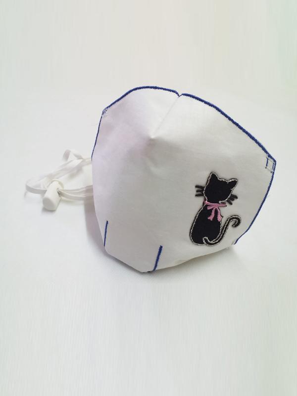 Mascarilla infantil higiénica re-utilizable , con transfer con diseño de gato