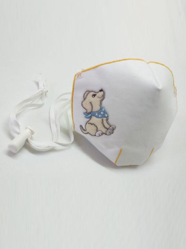 Mascarilla infantil higiénica re-utilizable , con transfer con diseño de perro